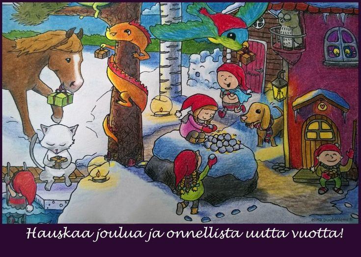 Joulukortti - Tarinatädin värityskuvat