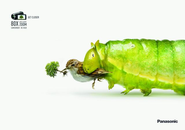 """""""Get closer"""", says this ad – which might make you double take – for the zoom feature of Panasonic's HCV520 camcorder."""