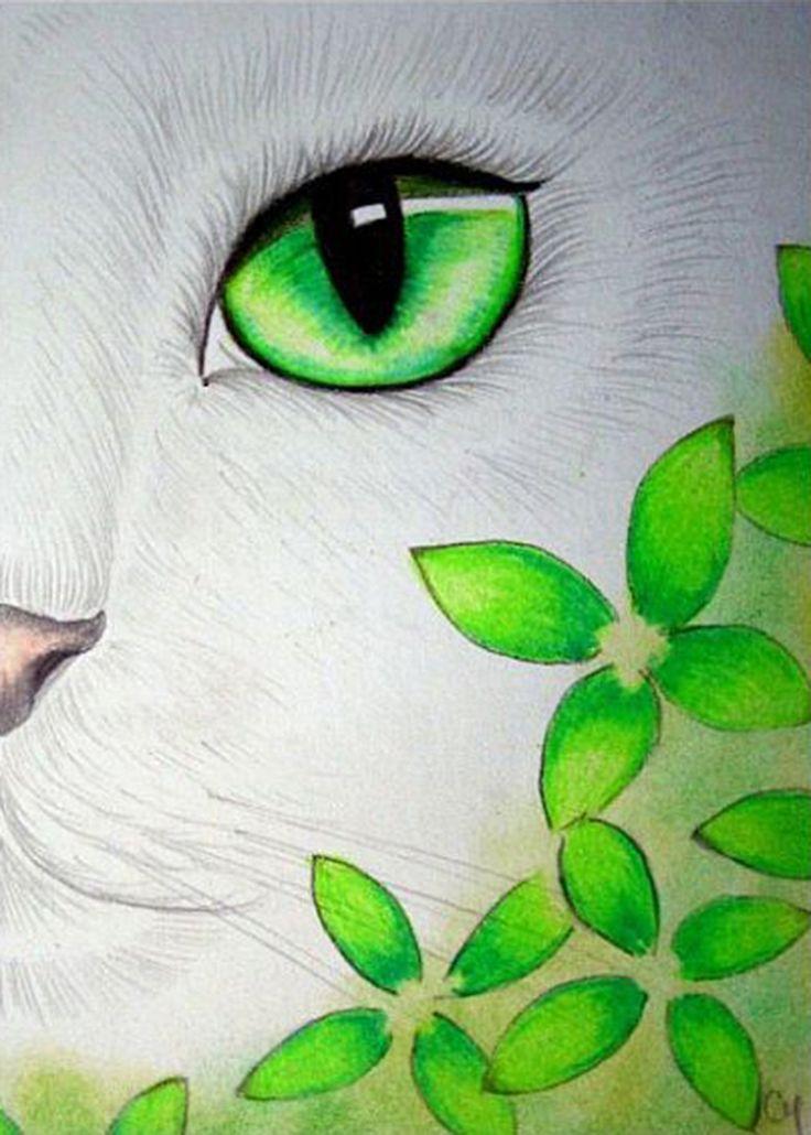 """White Cat - Green Flowers"" par Cyra R. Cancel"