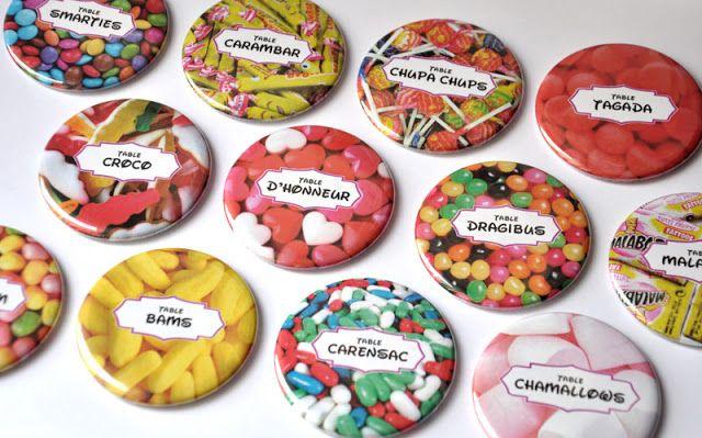 Idée originale plan de table mariage gourmand : badges personnalisés avec vos bonbons préférés