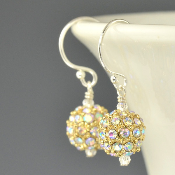 8mm Gold Pave crystal AB earrings