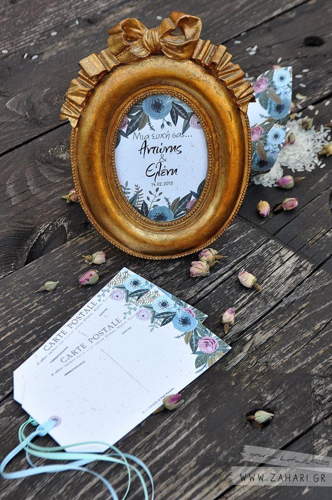 Κάρτες Ευχών.  Κάρτες για το τραπέζι των ευχών με vintage τριαντάφυλλα.