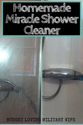 Homemade DIY Shower Cleaner.  I LOVE this 2-Ingredient Miracle Cleaner
