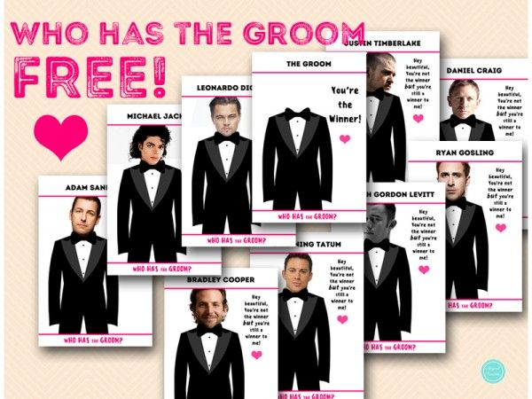 FREE Who has the Groom Game, Who has the Groom Tuxedo Printable, FREE Bridal Shower Game Printable, Instant Download, Free Game Printables