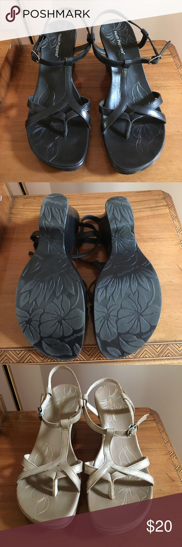Hush Puppies Sandals 2 colors available Hush Puppies Carnival Sandals. One pair black, the other gold. Leather upper made in Brazil (they have great leather). Size 8 or Euro 39 is on box. In great shape and comfortable. Hush Puppies Shoes Sandals