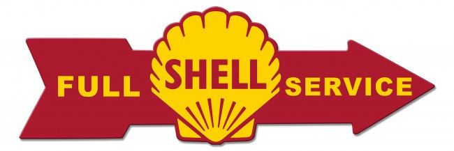Shell Gas Full Service Arrow Replica Sign 32 x 10 USA Made Powder Coated Steel Vintage Style Retro Gas Oil Garage Art Wall Decor  SHL191 by HomeDecorGarageArt on Etsy