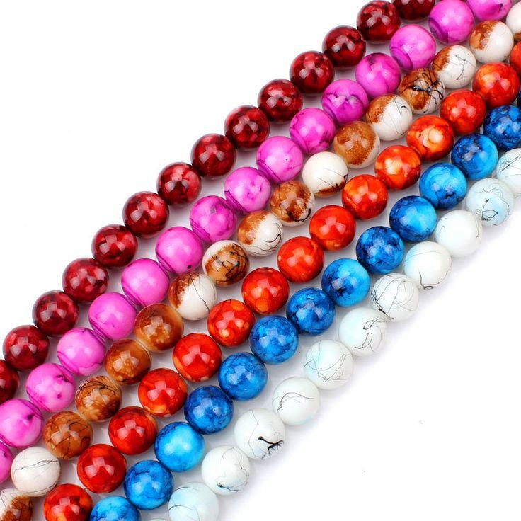 Aproximadamente 58 unids / strand 14 * 14 mm redondo colorido Assorte perlas de vidrio para mujeres collar pulsera hacer materiales(China (Mainland))