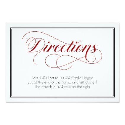 #Red Graceful Script Wedding Directions Card - #weddinginvitations #wedding #invitations #party #card #cards #invitation #elegant
