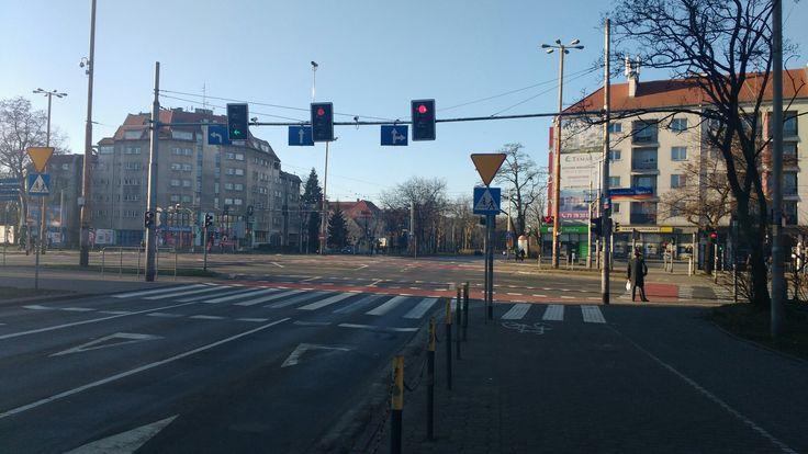 Wrocław skrzyż Powstańców śląskich I Hallera w piękne noworoczne południe