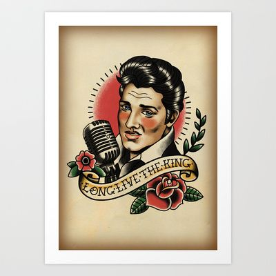 Long Live The King / Elvis Art Print by Lauren C Skinner - $20.00  Old School style Elvis Presley tattoo design.