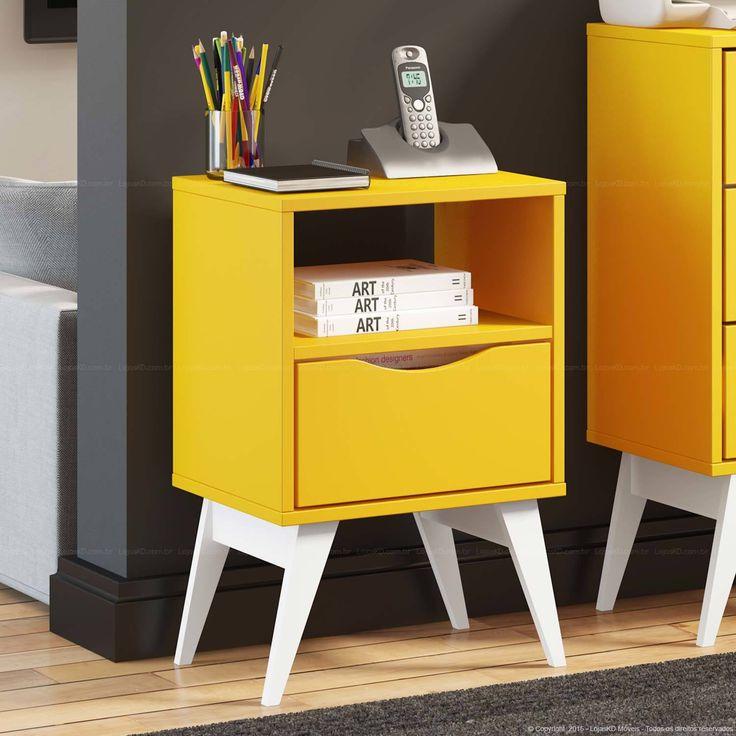 Gaveteiro/Criado-mudo 1 Gaveta Tutti Color com Pés Palito Amarelo/Branco - Madesa | Lojas KD