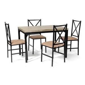 Ensemble table + 4 chaises Forca Noir/Camel - 168 euros -Achat / Vente table a manger complet Ensemble table + 4 chaises ... - Soldes* d'été Cdiscount