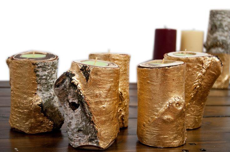 Komplet świeczników wykonanych z drewna brzozy, pokrytych dwoma warstwami złotych płatków. Design decor, home made, tlight,.