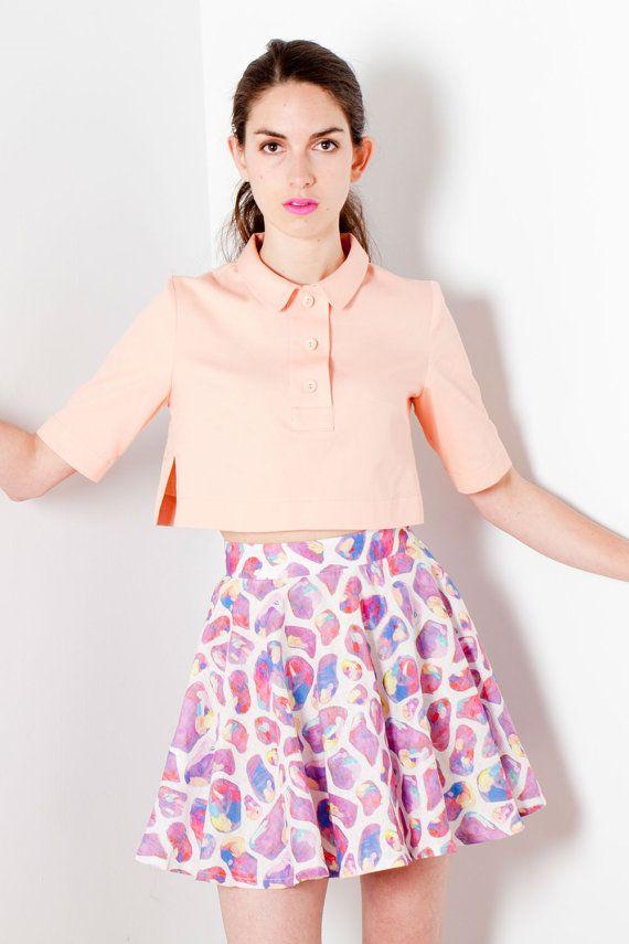 Peach pique cropped polo shirt  100 cotton  fun & by OraclesLabel, $90.00