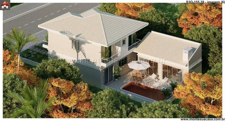 Planta de Sobrado - 3 Quartos - 155.28m² - Monte Sua Casa
