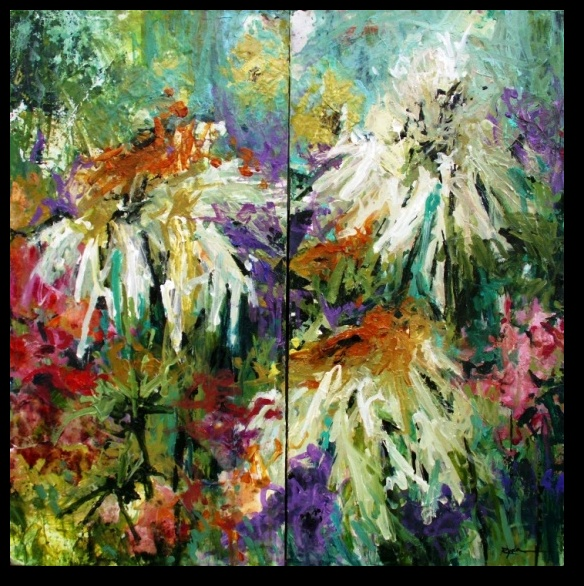 """Conn Ryder, Coneflower Revelry  30"""" x  30"""" Diptych; Acrylic & collage on canvas"""