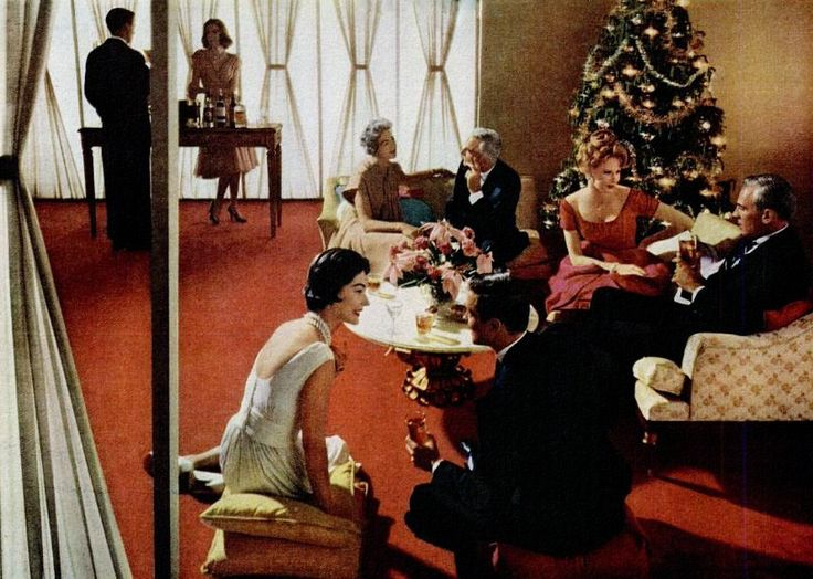Holiday Cocktail Party 1960 Vintage Christmas