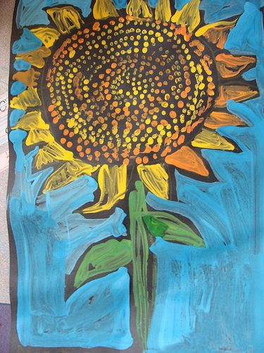 1st Grade sunflower painting @Megan Ward Ward Ward Hopkins Church so many fun things to do on black paper. Maybe your art journals could be black colored on with pastels or something