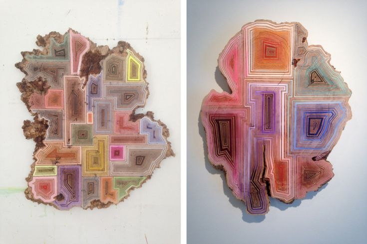 Artist Jason Middlebrook paints within grains of discarded timber to create beautiful wood paintings. #art #painting
