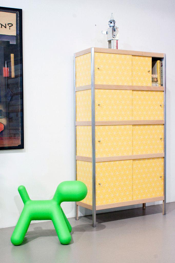 Designerkast Mendini van Kewlox.#geel #kast