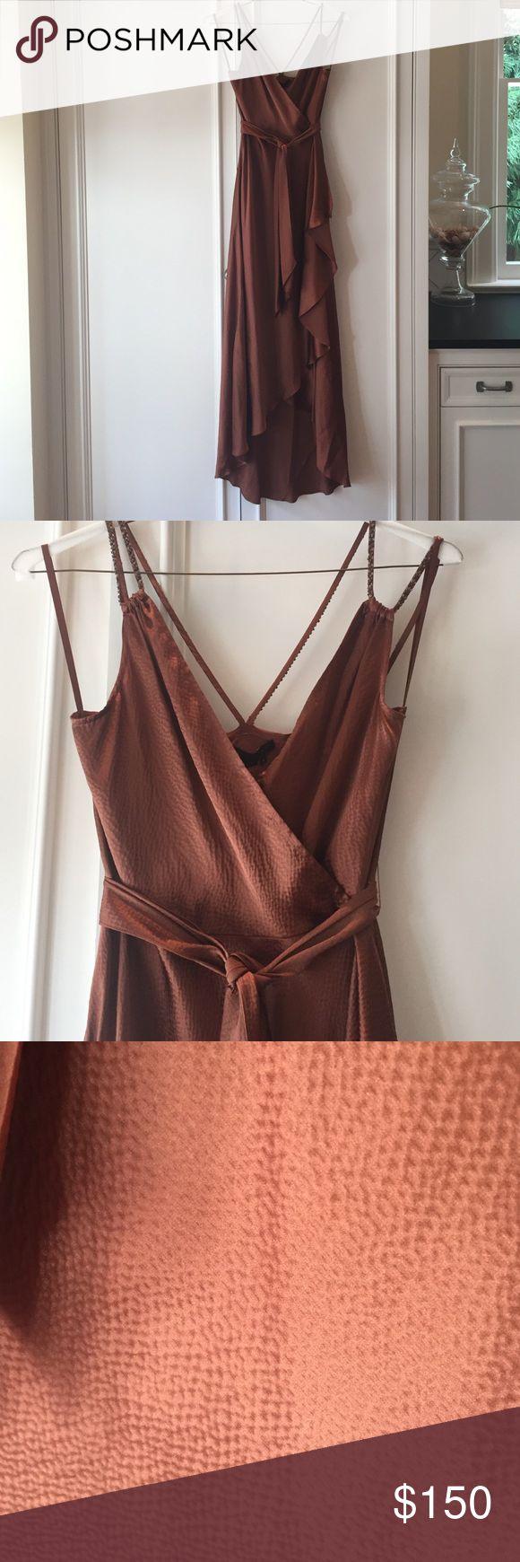 Bronze dress Bronze silk dress. Asymmetrical hem. Wrap waist. Beaded straps. Worn once. BCBG Dresses High Low