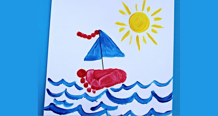 Een geweldig mooi schilderij maken met de voetafdruk van je kind. De zeilboot wordt gemaakt van de voetafdruk. Het is erg leuk om te maken en kan een geweldig mooi cadeau zijn om weg te geven. Kleur de onderkant van de voet met verf en druk vervolgens de voet stevig aan op het dikke papier …
