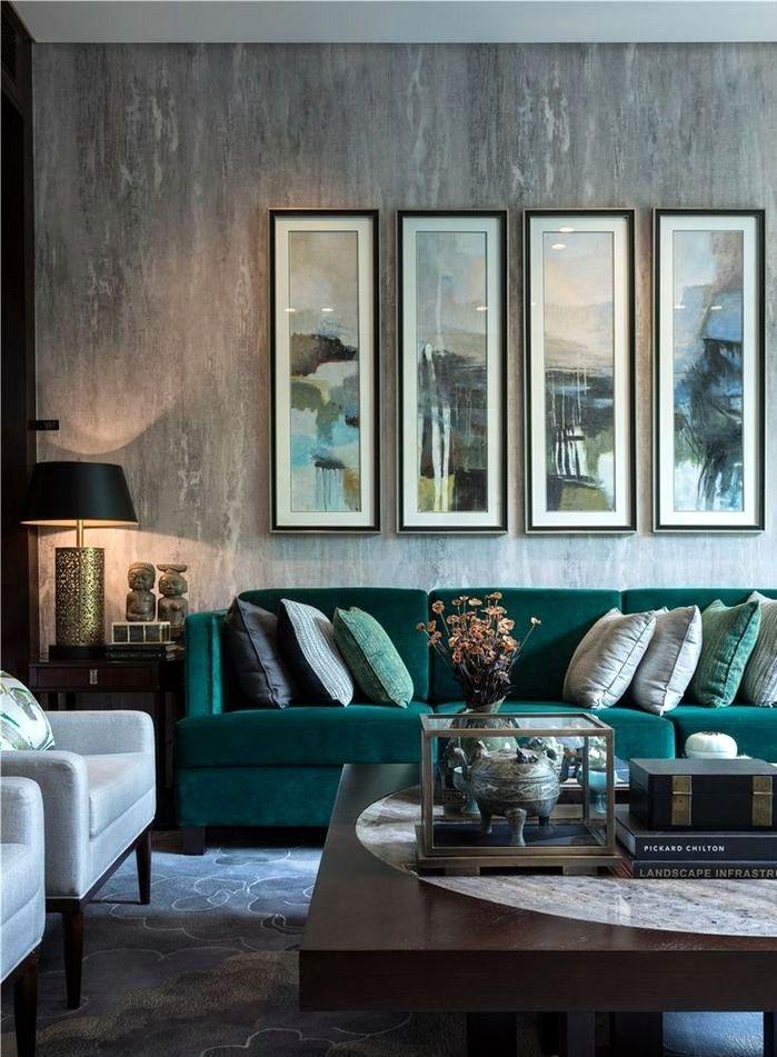 Salon Moderne Vert Et Gris Teal Living Rooms Green Velvet Sofa Living Room Velvet Sofa Living Room