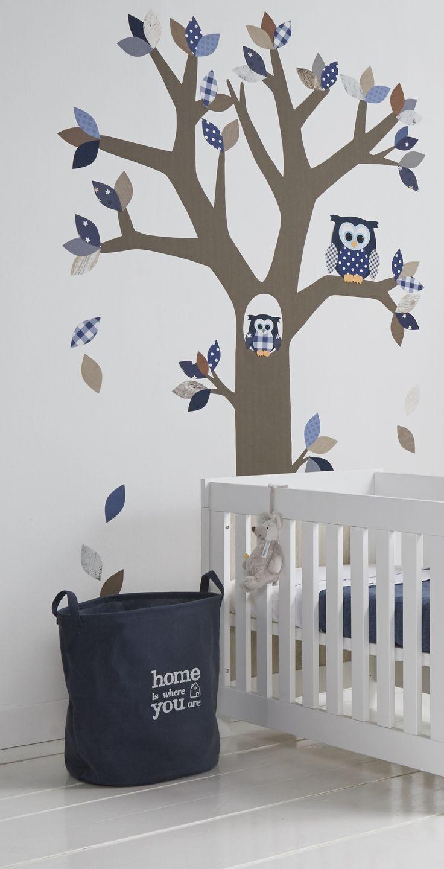 behangboom met uil muurdecoratie kinderkamer- babykamer www.uiltjeboompjebeestje.nl