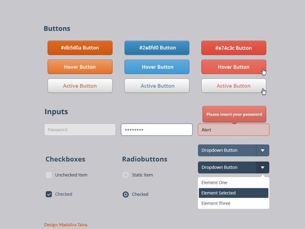 Basic Buttons and elements by Madalina Taina, via Behance