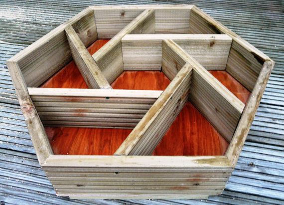LARGE hand made wooden hexagonal patio herb planter / herb wheel. Grow your own HERBS