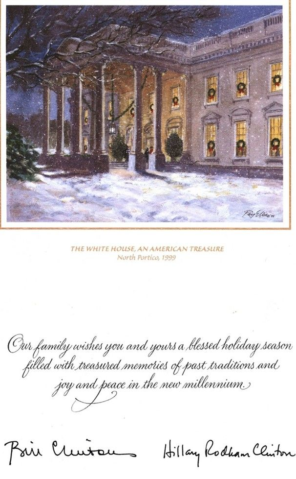 White House Christmas Card | (1999) The Clinton\'s selected \'The ...