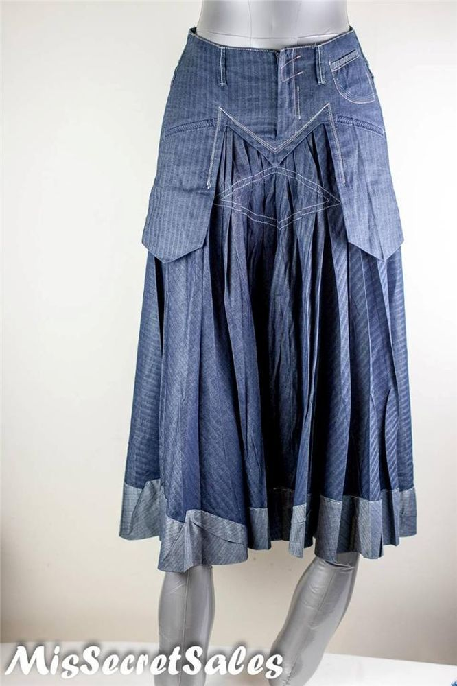 SOLD OUT RRP £128 MARITHE' FRANCOIS GIRBAUD 3/4 SKIRT DENIM SZ X SMALL PLEATS