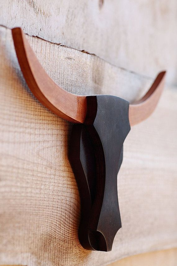 Bull Head Wooden Wall Art Buffalo Head Wooden Animals by WoodKO