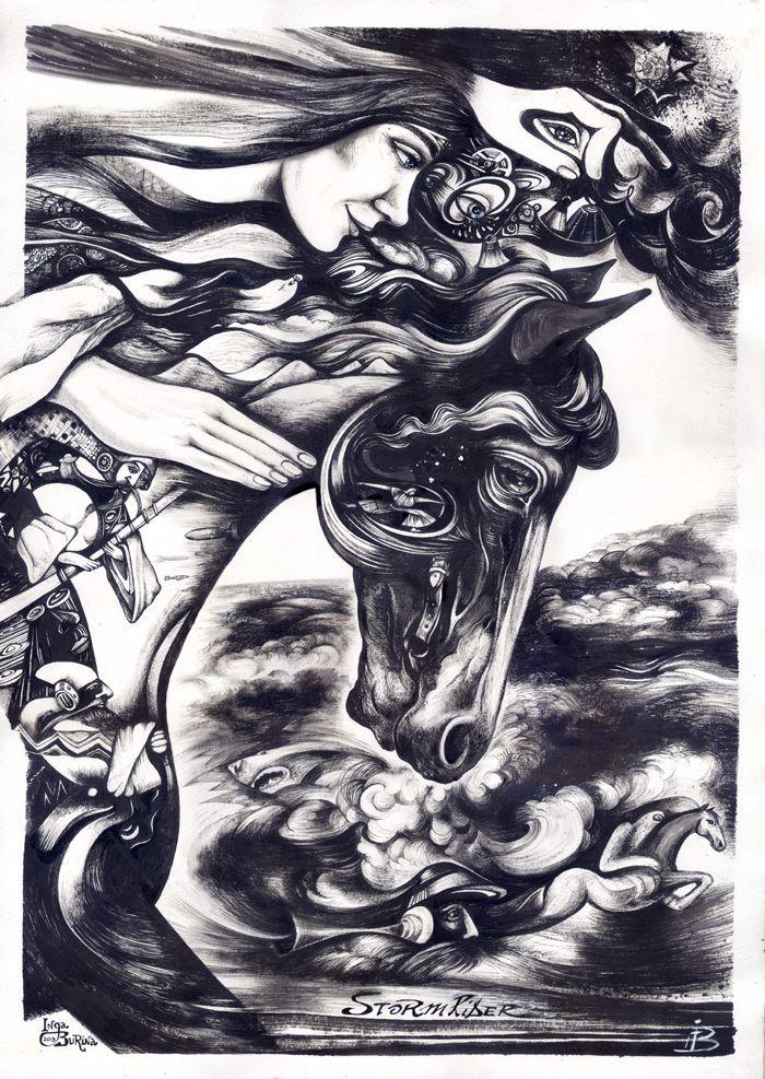 """Storm rider"" by Inga Burina, Ink on Paper #elementEdenArtsearch"