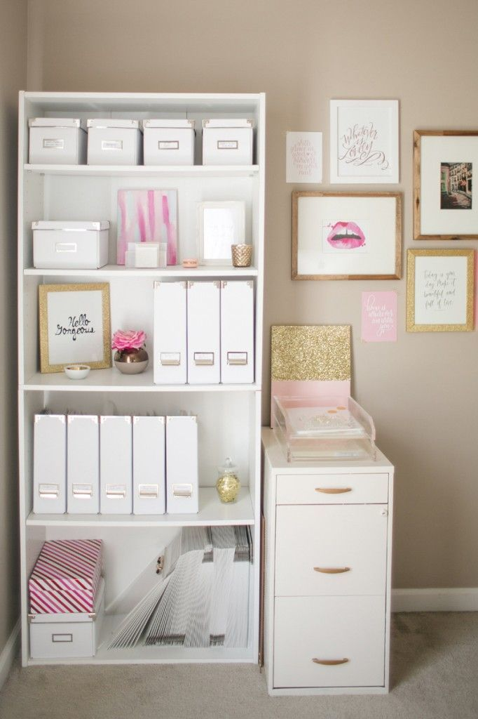 pretty organization in pink and white #home #office