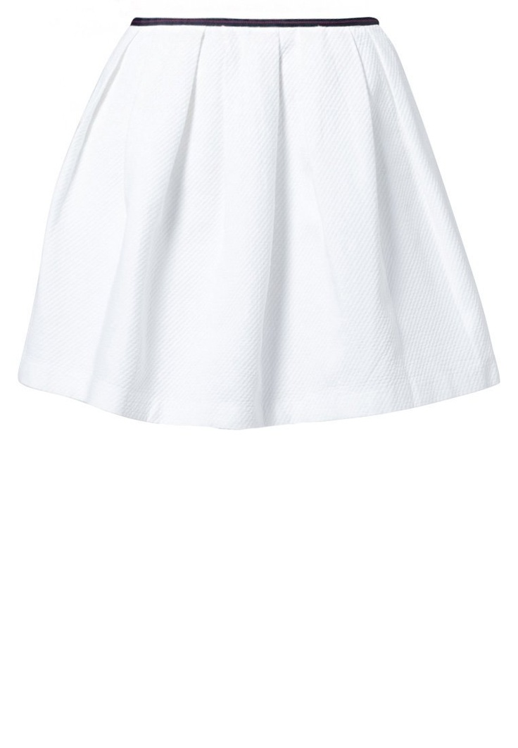 White pleated skirt by NAF NAF @ Zalando ❤ Monochrome