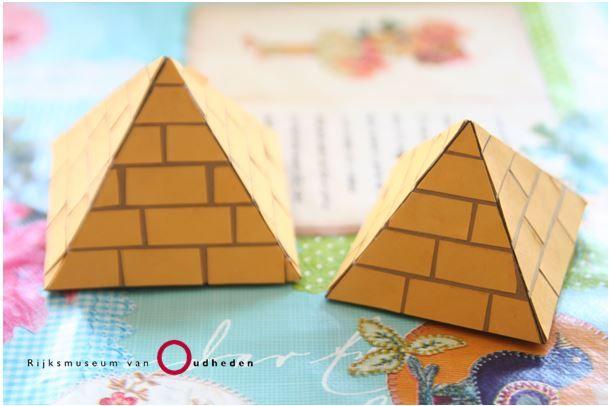 Landen - Wereld-  Knutsel je eigen piramide - RMO thuis doen - Knutselen, games, kluerplaten, werkstukinformatie - Rijksmuseum voor Oudheden