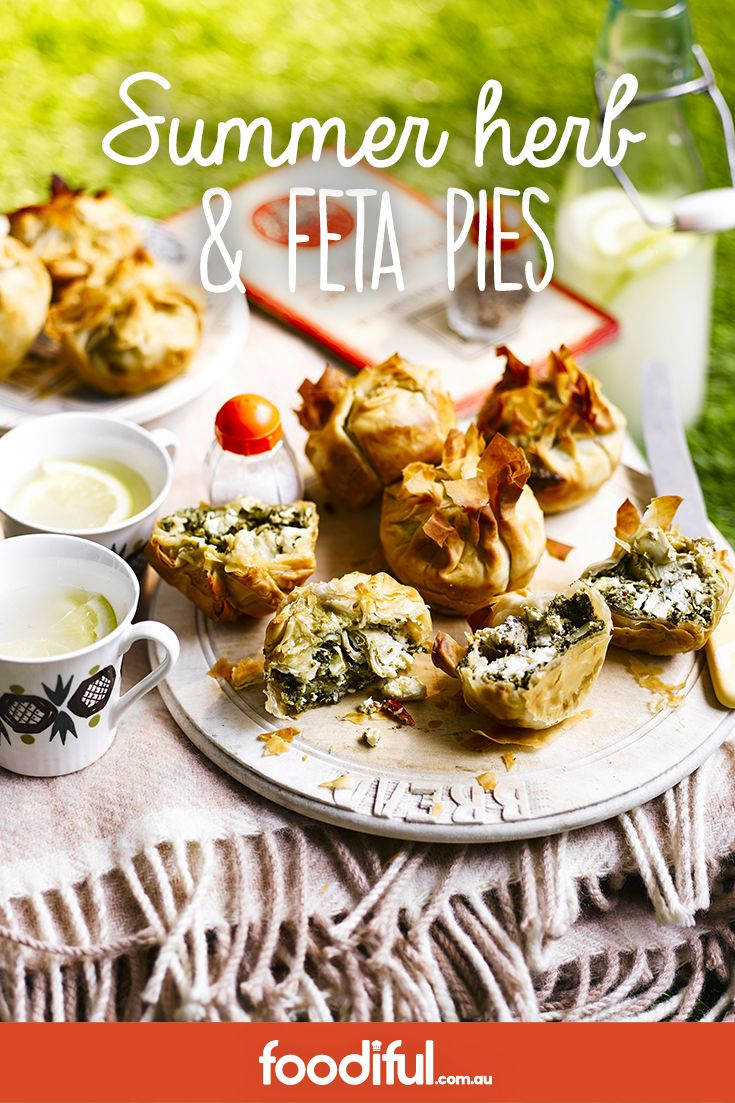 These little filo pastry parcels are packed with a cheese, basil, mint and watercress filling - perfect for a picnic.  50mins   Serves 8