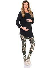 Леггинсы для беременных 40 недель  Трикотажные леггинсы для беременных в стильной камуфляжной расцветке. Комфортные и приятные к телу с низкой посадкой под живот и регулируемой резиночкой в поясе они хорошо садятся по фигуре в любой период беременности и после. Защитный окрас в стиле милитари украшает интересно смотрится на женской фигуре даже в комбинировании со строгими предметами гардероба так как необычное сочетание придает образу изюминку подчеркивает особый вкус и индивидуальность…