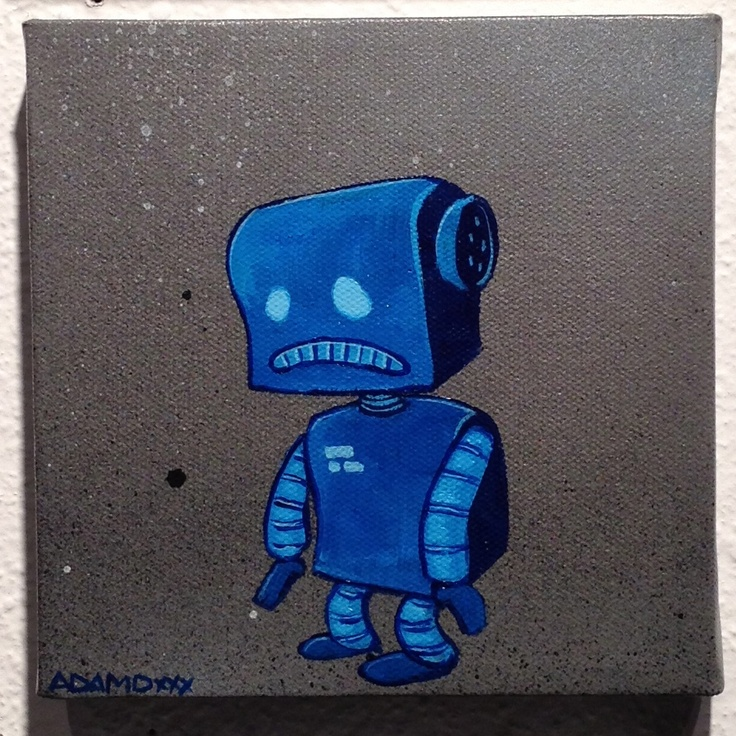 Phthalo Blues Robot Canvas from AdamD Illustration