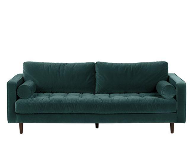 Scott 3 Seater Sofa, Petrol Cotton Velvet