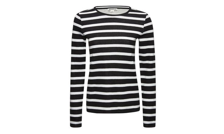 Bonded Stripe Sleeved Tshirt, Black and White | WHISTLES