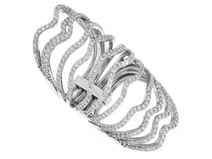 18K white gold diamond full finger ring