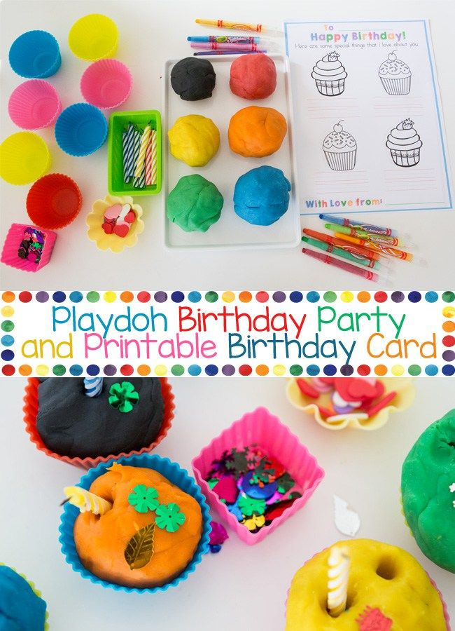 Looking for birthday themed play dough kids activities? Try this colorful playdoh birthday party cupcakes with homemade recipe. The candles and colors really draw toddlers, preschoolers and even older kids in. The printable birthday card included in this activity is also a birthday coloring page! You can also make this a playdoh birthday party station!