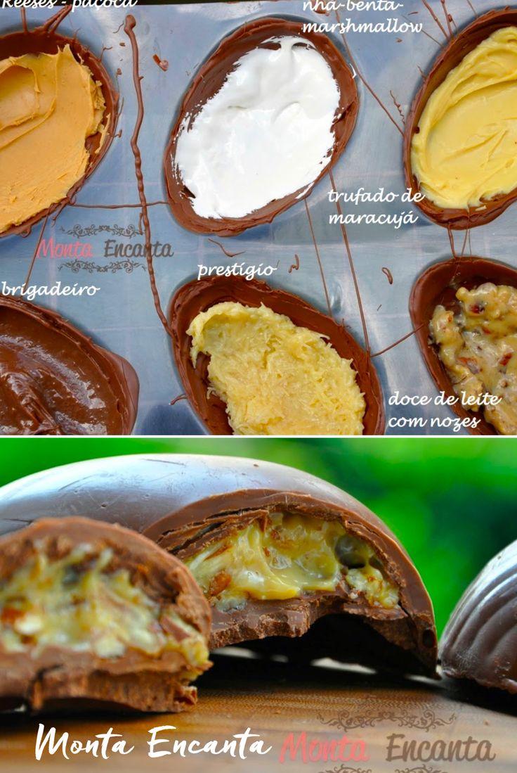 Escolha o seu Ovo de Páscoa preferido: brigadeiro, reeses, nhá benta, maracujá, nozes, doce de leite, prestigio, bicho de pé, nutella  e faça você mesmo seus ovos de Páscoa recheados