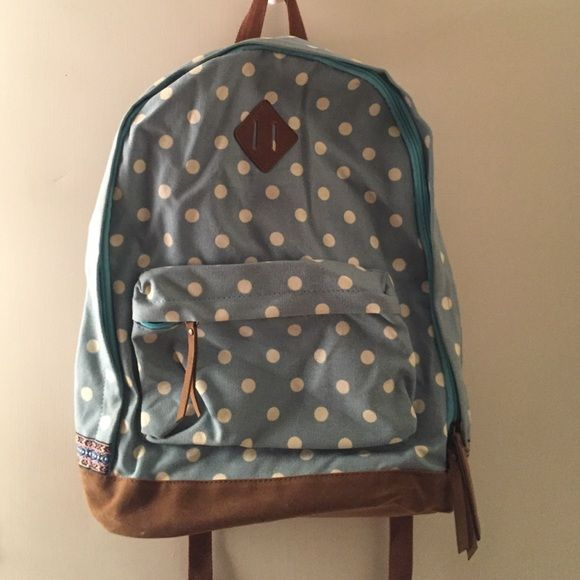 Polka Dot Backpack Super cute blue and white polka dot backpack from Target. Never used! Mossimo Supply Co Bags Backpacks