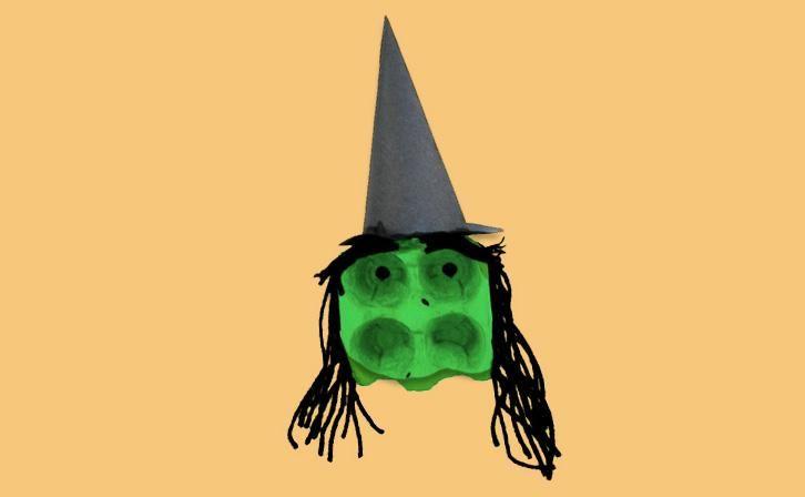 Spooky Egg-Carton Witch
