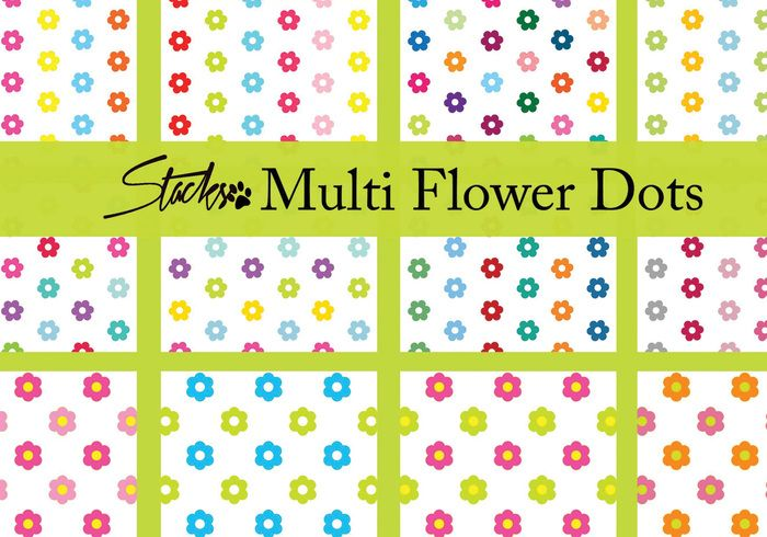 Multicolor Flower Dot Patterns