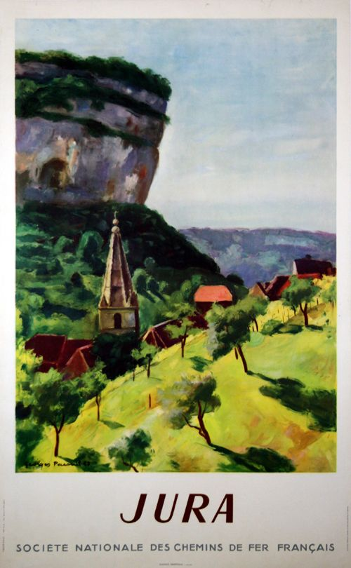 Vintage Railway Travel Poster - Le Jura - France - by Georges Pacouil - 1947.