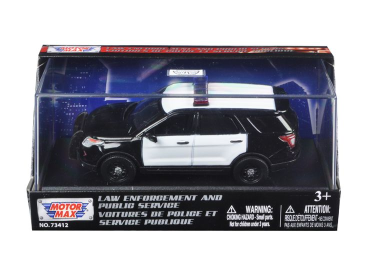 2015 Ford Police Interceptor Utility Plain Black and White Car In Display Showcase 1/43 Diecast Model Car by Motormax - Brand new 1:43 scale diecast car model of 2015 Ford Police Interceptor Utility Plain Black and White Car In Display Showcase die cast car model by Motormax. Rubber tires. Brand new box. Limited Edition. Detailed interior, exterior. Comes in plastic display showcase. Dimensions approximately L-4.5 inches long. Please note that manufacturer may change packing box at anytime…